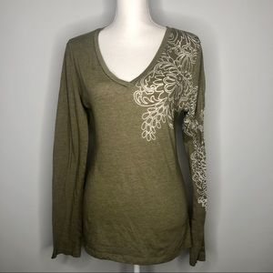 🍃 PrAna Green Long Sleeve Floral Design XL🍃